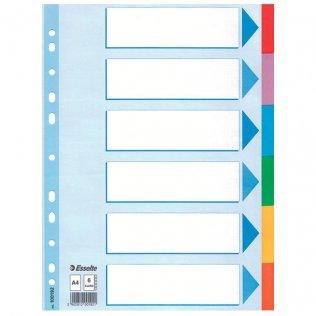 Separadores cartón A4 6 pestañas Esselte