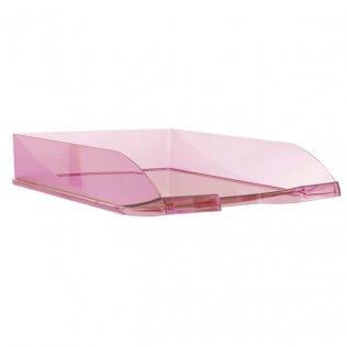 Bandeja sobremesa traslúcida rosa Plus Office