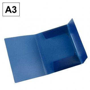 Carpeta A3 azul PP gomas y solapas Plus Office