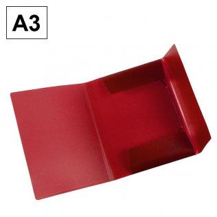 Carpeta A3 roja PP gomas y solapas Plus Office