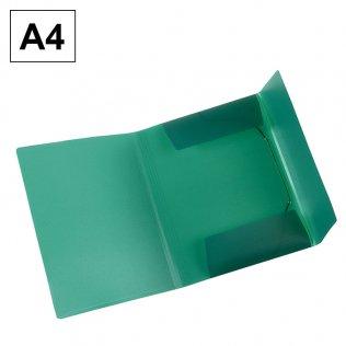 Carpeta A4 verde PP gomas y solapas Plus Office