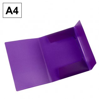 Carpeta A4 violeta PP gomas y solapas Plus Office