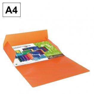 Carpeta A4 naranja PP gomas y solapas Plus Office