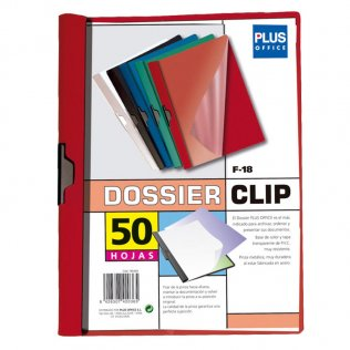 Dossier F-18 rojo pinza metálica 50 hojas Plus Office