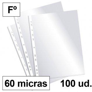 Fundas multitaladro Fº cristal 60 micras c/100 Plus Office