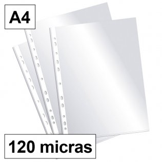 Fundas multitaladro A4-cristal 120 micras Plus Office