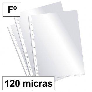Fundas multitaladro Fº cristal 120 micras Plus Office