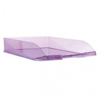 Bandeja sobremesa traslúcida violeta Plus Office