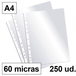Fundas multitaladro A4-cristal 60 micras Plus Office