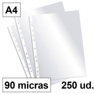 Fundas multitaladro A4-cristal 90 micras Plus Office