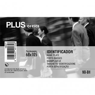 Identificador PP rígido 64x111mm horizontal Plus Office