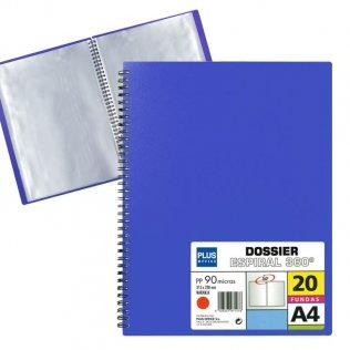 Carpeta dossier Azul 20 fundas espiral Plus Office