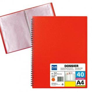 Carpeta Roja con 40 fundas y espiral Plus Office