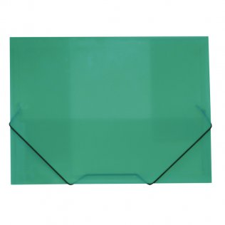 Carpeta A4+ verde gomas y solapas traslúcida