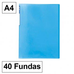 Carpeta 6040 A4 azul 40 fundas Plus Office