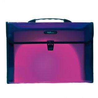 Maletín traslúcido Fº violeta 2 departamentos Plus Office