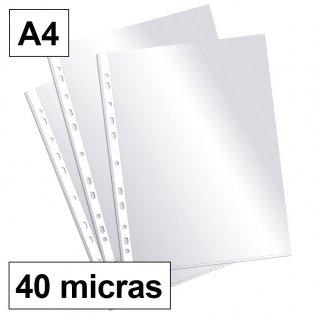 Funda multitaladro A4-cristal 40 micras c/200 Plus Office