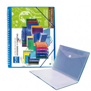 Carpeta Azul con 30 fundas y espiral Plus Office