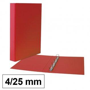 Carpeta anillas rojo Fº 4/25mm cartón forrado PP Plus Office