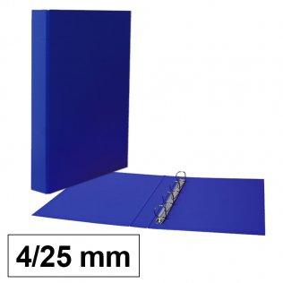 Carpeta anillas azul Fº 4/25mm cartón forrado PP Plus Office