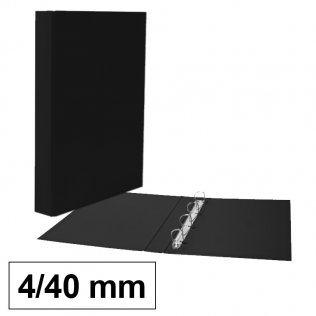 Carpeta anillas negro Fº 4/40mm cartón forrado PP Plus Office