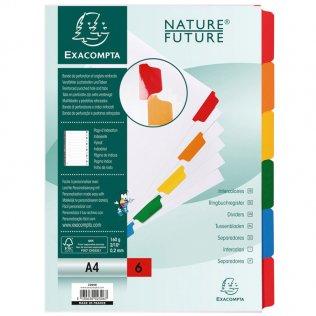Cartulina blanca 6 separadores A4 Exacompta Nature Future