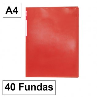 Carpeta 6040 A4 rojo 40 fundas Plus Office