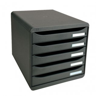 Módulo archivador negro 5 cajones vertical Exacompta