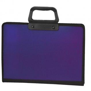 Maletín traslúcido violeta 3 departamentos Plus Office
