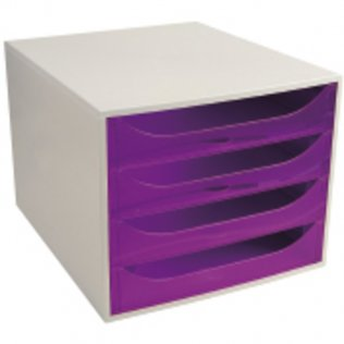 Módulo archivador violeta traslúcido 4 cajones Exacompta