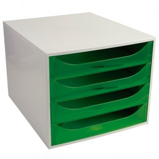 Módulo archivador verde manzana traslúcido 4 cajones Exacompta
