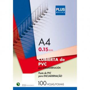 Cubierta encuadernar Plus Office A4 PVC transparente 100 ud