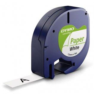 Cinta Dymo Letratag Papel 12mm x 4m Negro/Blanco