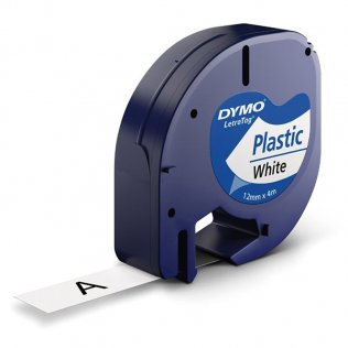 Cinta Dymo Letratag Pástico 12mm x 4m Negro/Blanco