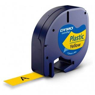 Cinta Dymo Letratag Pástico 12mm x 4m Negro/Amarillo