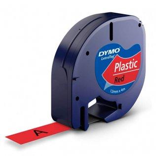 Cinta Dymo Letratag Pástico 12mm x 4m Negro/Rojo