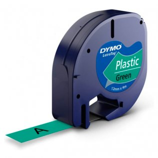 Cinta Dymo Letratag Pástico 12mm x 4m Negro/Verde