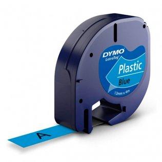Cinta Dymo Letratag plástico 12mm x 4m Negro/Azul