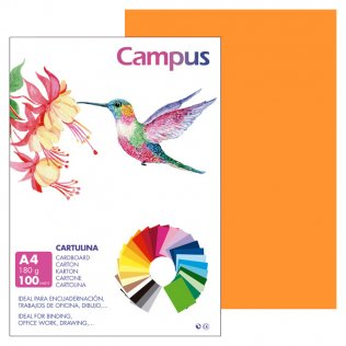 Cartulina Campus A4 Naranja 180 g