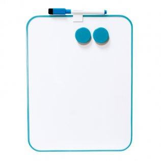Pizarra blanca magnética 216x280 azul con marcador