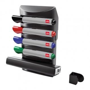 Kit soporte + 4 rotuladores + borrador - accesorio pizarra Nobo Prestige