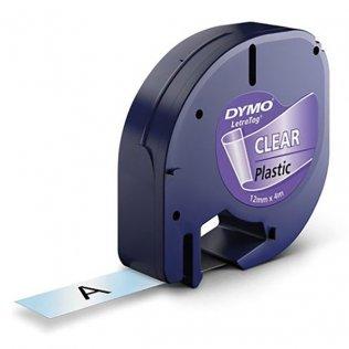 Cinta Dymo Letratag Pástico 12mm x 4m Negro/Transparente