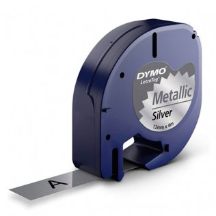 Cinta Dymo Letratag metalizadas 12mm x 4m Negro/Plata