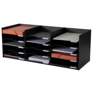 Clasificador horizontal negro 15 bandejas Paperflow