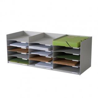 Clasificador horizontal gris 15 bandejas Paperflow