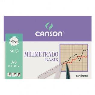 Papel milimetrado Canson A3 50h