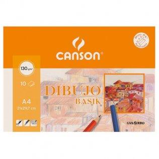 Papel dibujo Canson gama basik Minipack 10h. A4