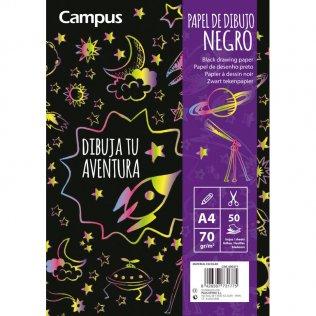 Bloc de dibujo Campus College A4 papel negro 50h 70gr