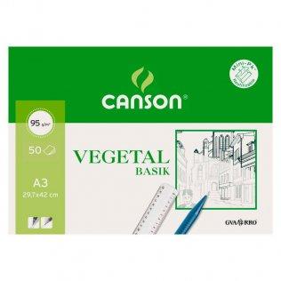 Papel vegetal Canson 32,5x46 (A3+) Bloc 50h. Encolado 1 lado