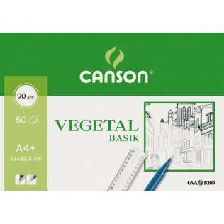 Papel vegetal Canson 23x32,5 (A4+) Bloc 50h. Encolado 1 lado